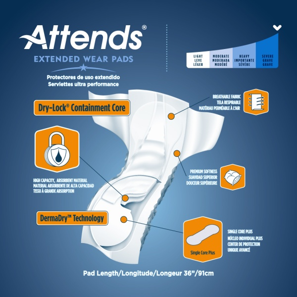 Attends Extended Wear Pads - Features