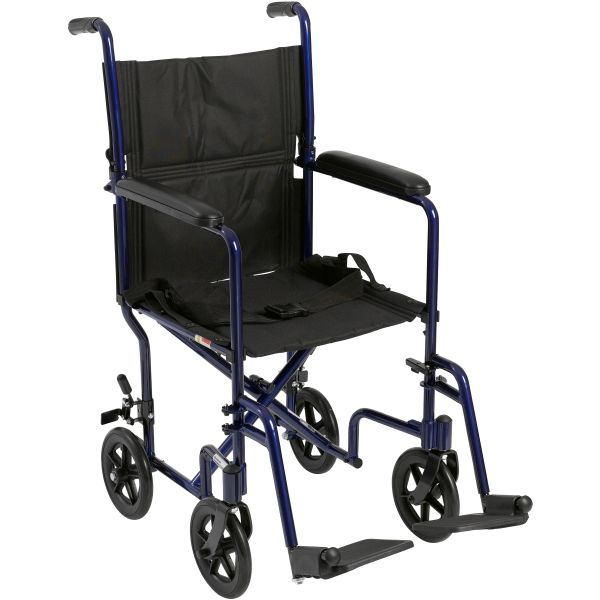 Drive Medical Aluminum Transport Chair - Blue