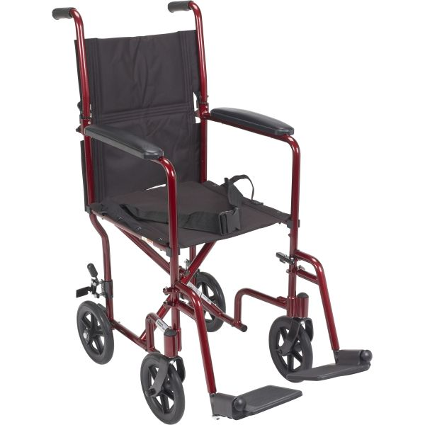 Drive Medical Aluminum Transport Chair - Red